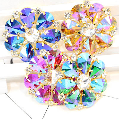 Glass Sew On Rhinestone Brooches