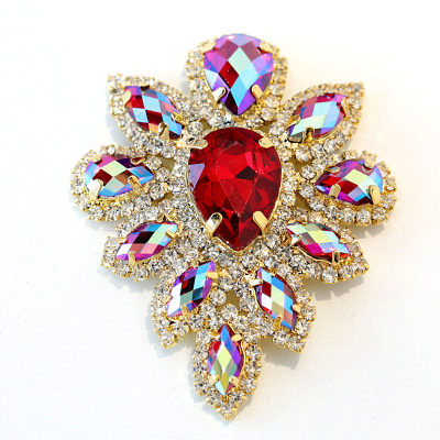Glass Sew On Rhinestone Brooches For Clothes