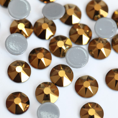 2088 Style 16 Cut Facets Hot Fix Rhinestones Mine Gold