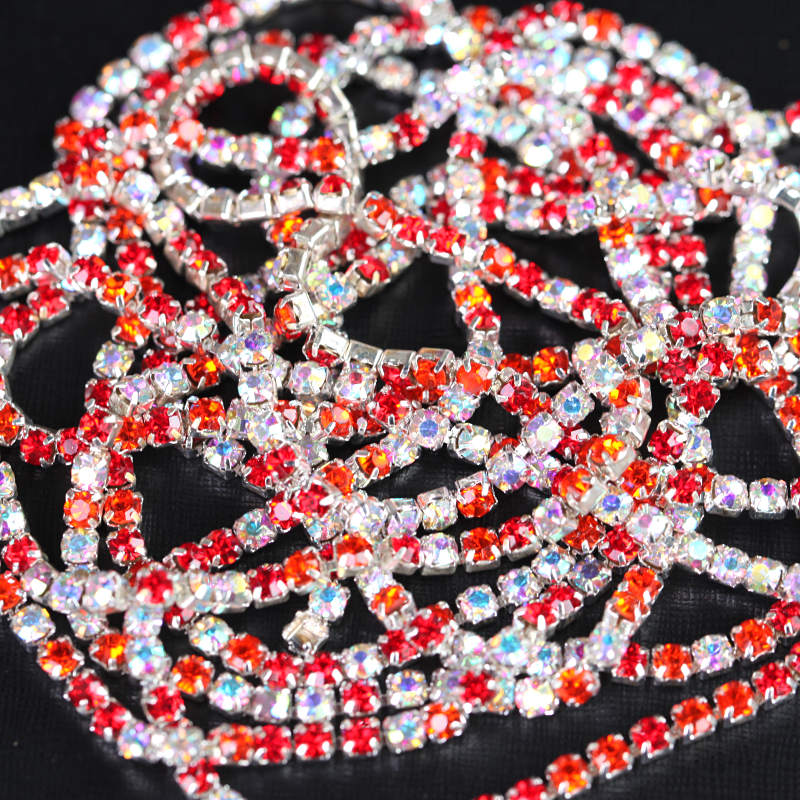 Mix Color Sew On Crystal Rhinestone Silver Base Cup Chain Trimming