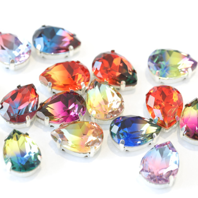 13*18mm Tourmaline Teardrop Sew On Claw Rhinestone