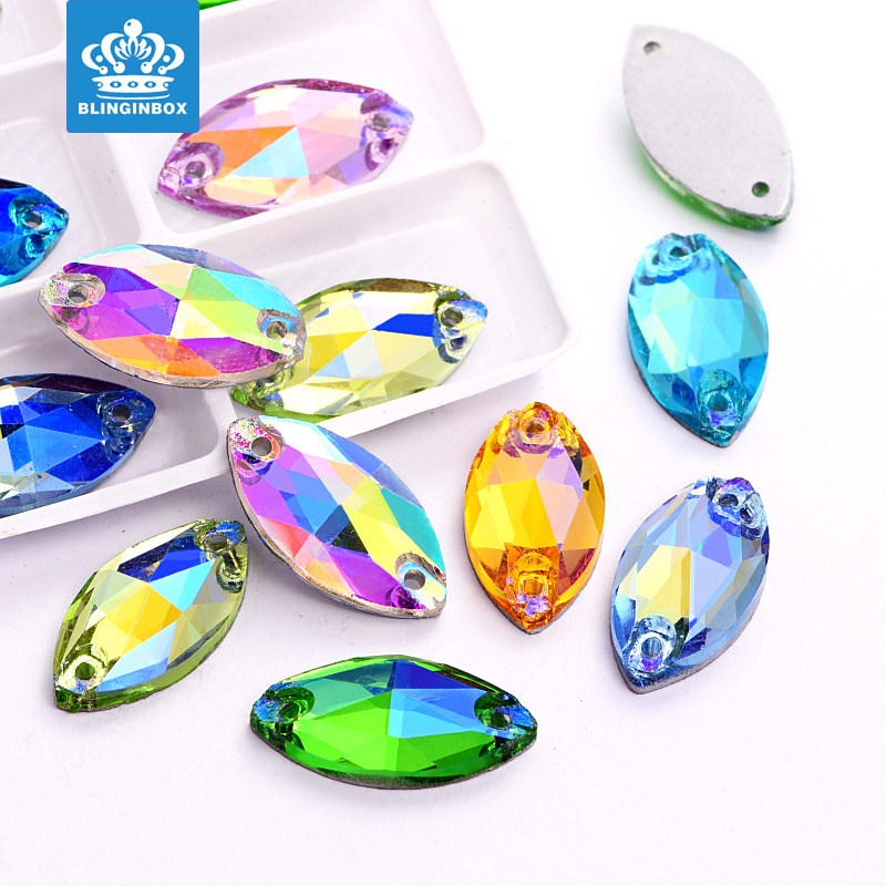 Navette Colorful Glass Crystal Sew On Rhinestone For Decoration