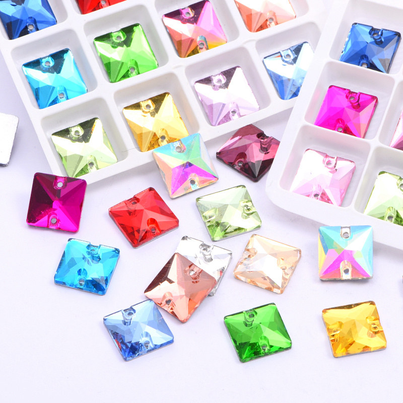 Square Glass Sewing Rhinestones Colorful Sew on Rhinestones