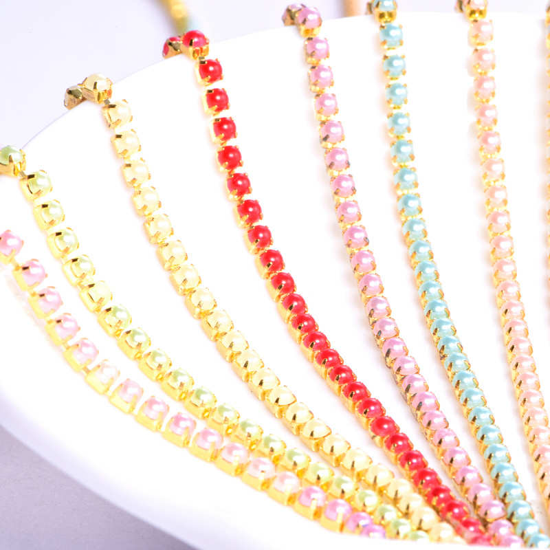 10Yards/roll Sew On Pearls Cup Chain Rhinestone Trimming