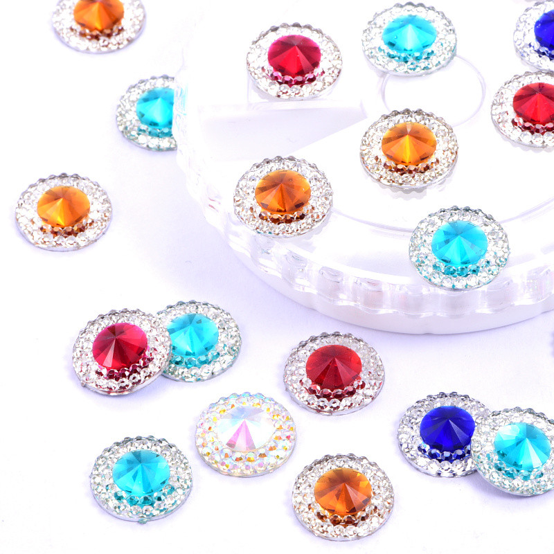 50PCS 13MM Rivoli Round Flat Back Resin Rhinestone