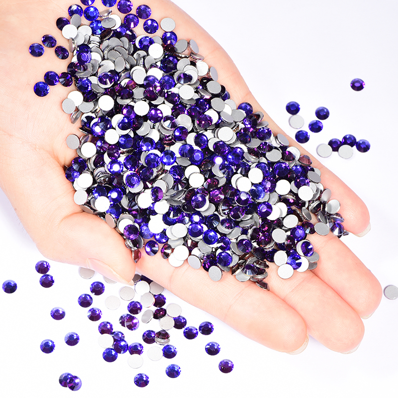 Factory price popular bling purple velvet colors crystal nail art non flat-back rhinestone