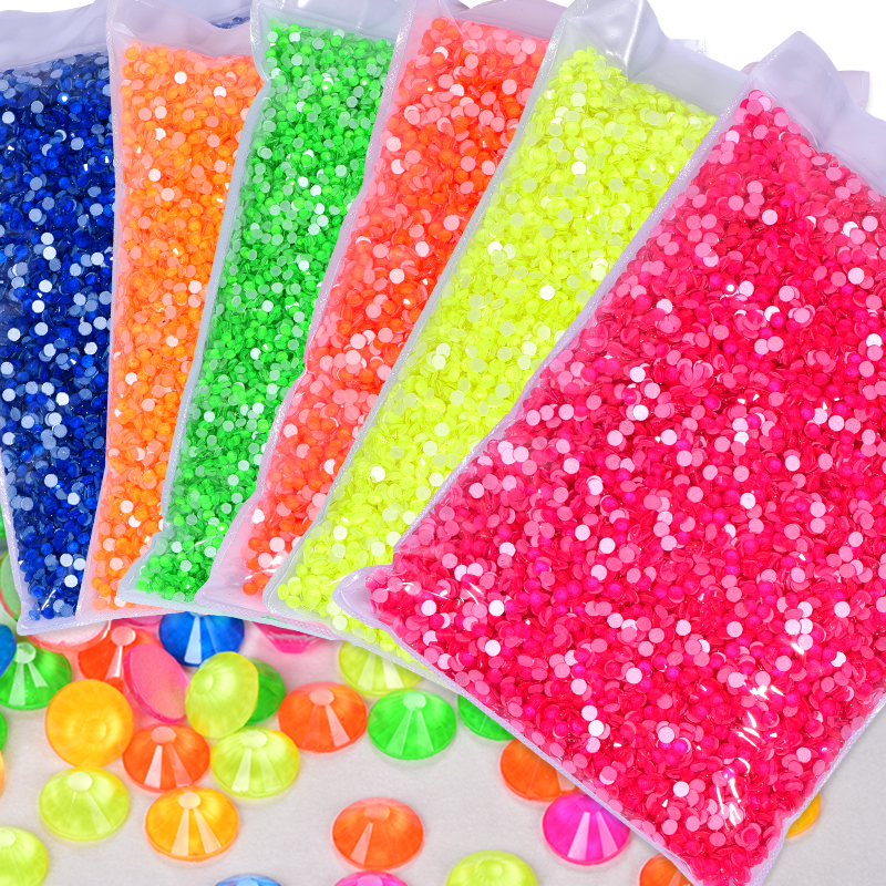 Wholesale Neon Non hotfix Rhinestones in Bulk Package SS6-SS20 Luminous Color Flatback Nail Strass for Bag