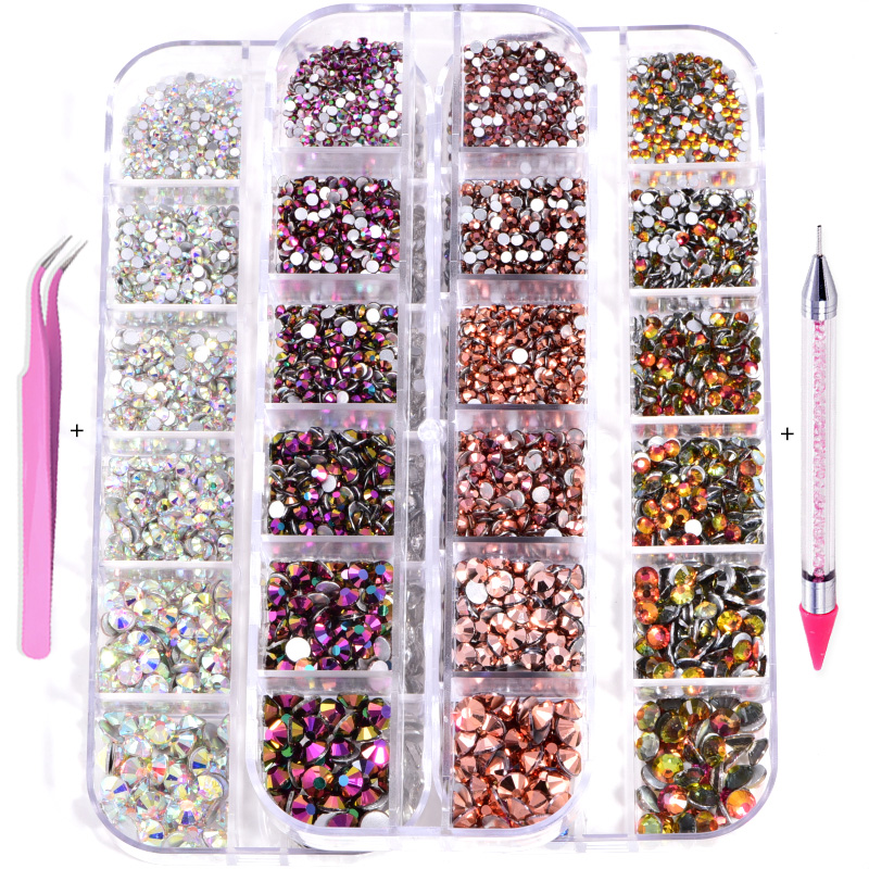 Bling 1440pcs/Box Set non hot rhinestone in Bulk setter tool Rhinestones Crystal Nail Art Accessory for Nail Art Decoration